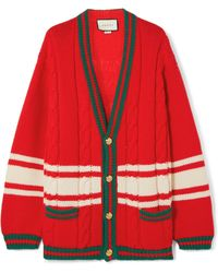 Gucci - Web-trimmed Cable Knit Cardigan - Lyst