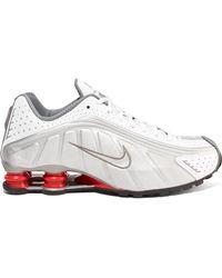 best sneakers 9bd59 2b2f6 Nike - Shox R4 Metallic Leather Sneakers - Lyst