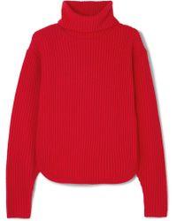 Antonio Berardi - Cutout Ribbed Wool And Cashmere-blend Turtleneck Jumper - Lyst