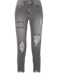 SJYP - Cropped Distressed Mid-rise Skinny Jeans - Lyst
