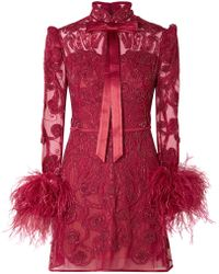 Zuhair Murad - Belle Epoque Feather-trimmed Embellished Lace And Tulle Mini Dress - Lyst
