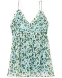 Lee Mathews - Nina Ruffled Floral-print Silk-crepon Camisole - Lyst