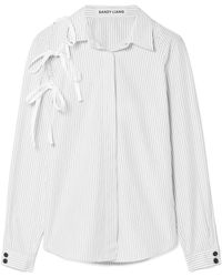 Sandy Liang - Lena Tie-detailed Pinstriped Cotton-poplin Shirt - Lyst