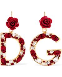 Dolce & Gabbana - Gold-plated, Enamel And Crystal Earrings - Lyst