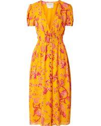 Carolina Herrera - Pintucked Floral-print Silk Crepe De Chine Midi Dress - Lyst