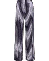 Cropped Striped Cady Straight-leg Pants - Black Diane Von Fürstenberg JYGVMU