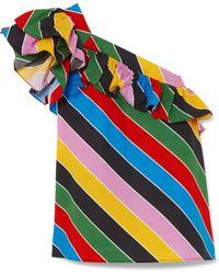 Philosophy Di Lorenzo Serafini - One-shoulder Striped Cotton-poplin Top - Lyst