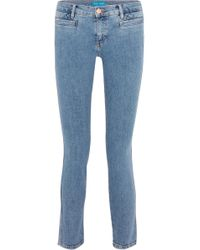 M.i.h Jeans - Paris Cropped Embroidered Low-rise Skinny Jeans - Lyst