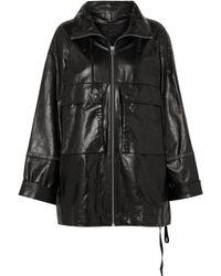 Helmut Lang - Zip-embellished Leather Jacket - Lyst