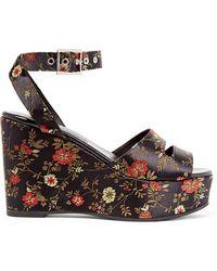 Newbark - Maggie Embroidered Satin Platform Sandals - Lyst