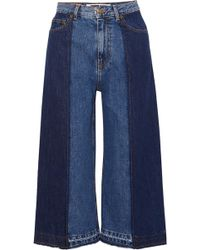 McQ - Two-tone Denim Culottes - Lyst