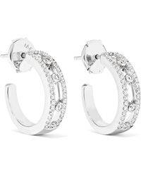 Messika - Move Pavé 18-karat White Gold Diamond Hoop Earrings - Lyst