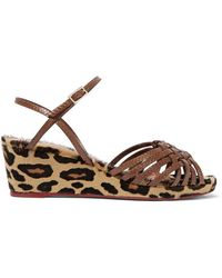 Charlotte Olympia | - Dilys Leather And Leopard-print Calf Hair Wedge  Sandals - Leopard