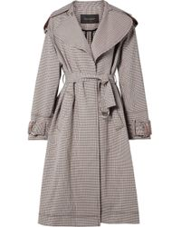 Cedric Charlier - Oversized Paneled Plaid Cotton-blend Gabardine Trench Coat - Lyst