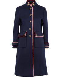 Gucci - Embellished Metallic-trimmed Wool-felt Coat - Lyst