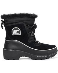 Sorel - Torino Faux Fur-trimmed Waterproof Suede, Shell And Leather Ankle Boots - Lyst