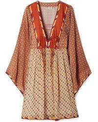 Talitha - Jasmin Lace-up Printed Chiffon Dress - Lyst