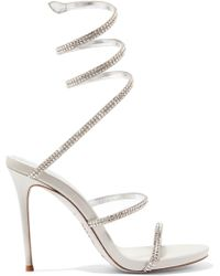 Rene Caovilla - Cleo Crystal-embellished Metallic Leather Sandals - Lyst