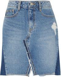 SJYP - Patchwork Denim Mini-skirt - Lyst