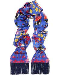 Silken Favours - Fringed Printed Silk-satin Scarf - Lyst