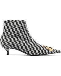 Balenciaga - Logo-embellished Houndstooth Tweed Ankle Boots - Lyst