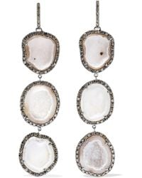 Kimberly Mcdonald - 18-karat Blackened White Gold, Geode And Diamond Earrings - Lyst