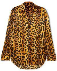 Adam Lippes - Leopard-print Hammered Silk-crepe Shirt - Lyst