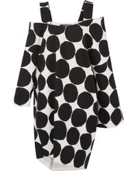 Junya Watanabe - Marimekko Oversized Cold-shoulder Polka-dot Cotton-canvas Midi Dress - Lyst