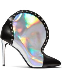 Balmain - Iren Studded Smooth And Iridescent Leather Ankle Boots - Lyst