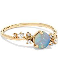 Wwake - 14-karat Gold, Opal And Diamond Ring Gold 7 - Lyst