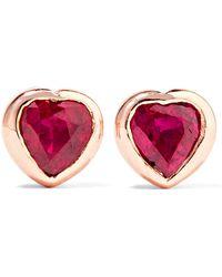 Anita Ko | Heart 18-karat Rose Gold Ruby Earrings | Lyst