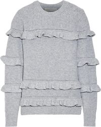 MICHAEL Michael Kors - Ruffle-trimmed Knitted Sweater - Lyst