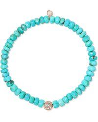 Sydney Evan - 14-karat Gold, Turquoise And Diamond Bracelet - Lyst