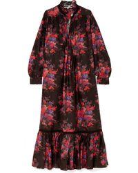 McQ - Lace-trimmed Floral-print Silk Maxi Dress - Lyst