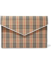 Burberry - Leather-trimmed Checked Cotton-drill Clutch - Lyst