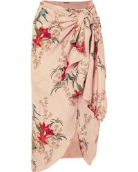 Johanna Ortiz - Libertad Lamarque Knotted Printed Silk-georgette Wrap Skirt - Lyst