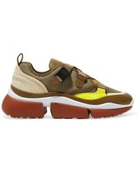 Chloé - Sonnie Canvas, Mesh, Suede And Leather Sneakers - Lyst