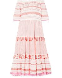 lemlem - Tiki Off-the-shoulder Embroidered Cotton-blend Gauze Midi Dress Red Small - Lyst