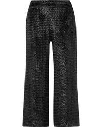 Brandon Maxwell - Cropped Metallic Velvet Wide-leg Trousers - Lyst
