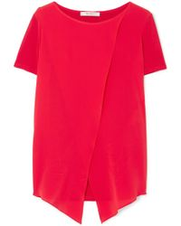 Max Mara - Layered Silk-georgette And Stretch-jersey Top - Lyst