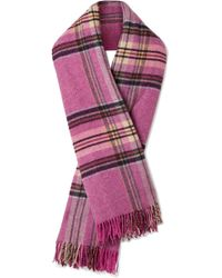 we11done - Fringed Plaid Wool Scarf - Lyst