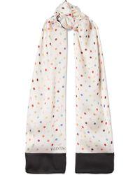 Valentino | Polka-dot Silk-georgette Scarf | Lyst