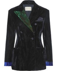 Christopher Kane - Color-block Crushed-velvet Blazer - Lyst