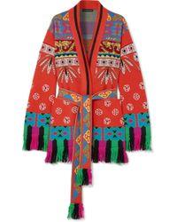 Etro - Fringed Wool-blend Jacquard Cardigan - Lyst