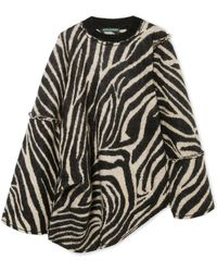 ALEXACHUNG - Oversized Asymmetric Zebra-intarsia Mohair-blend Sweater - Lyst