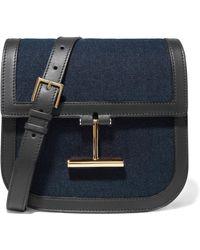 Tom Ford - Tara Small Leather-trimmed Denim Shoulder Bag - Lyst