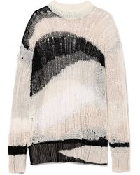 McQ Alexander McQueen | Oversized Distressed Linen And Cotton-blend Jumper | Lyst