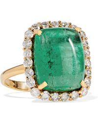 Amrapali - 18-karat Gold, Emerald And Diamond Ring - Lyst
