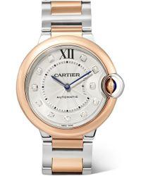 Cartier - Ballon Bleu De 36mm 18-karat Rose Gold, Stainless Steel And Diamond Watch - Lyst