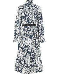 ALEXACHUNG - Ruffle-trimmed Printed Cotton-poplin Midi Dress - Lyst